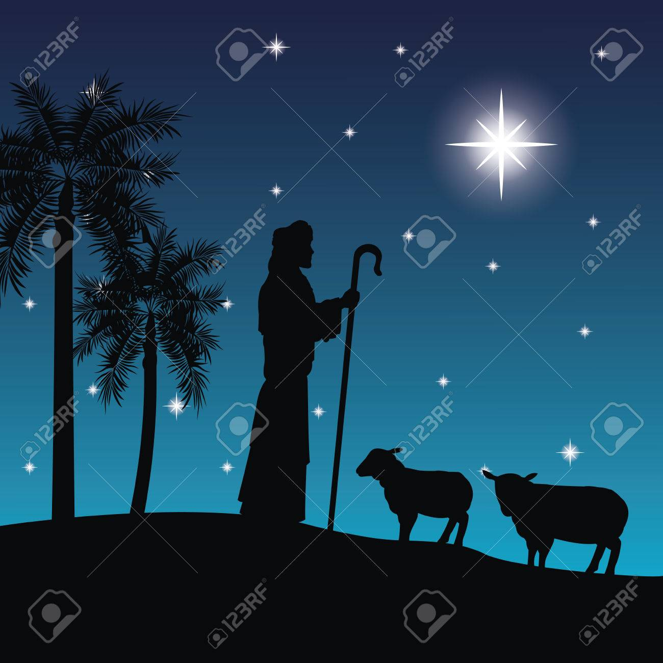 Merry Christmas and holy family concept represented by the shepherd and his sheeps icon. Silhouette and flat illustration. - 59412425