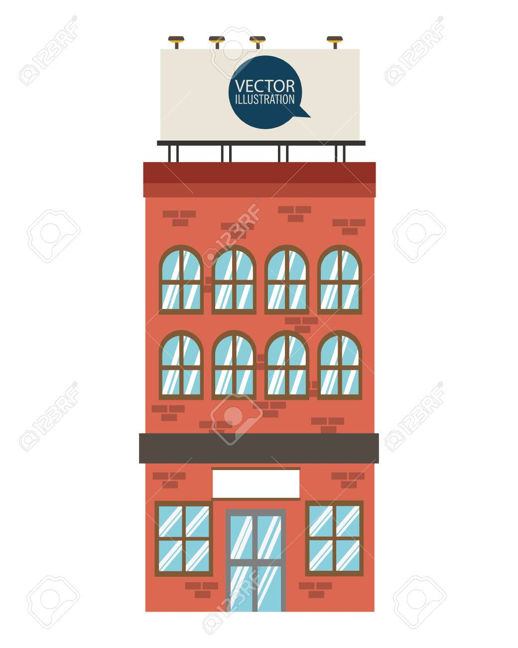Flat Design Single Brick Building Icon Vector Illustration Stock