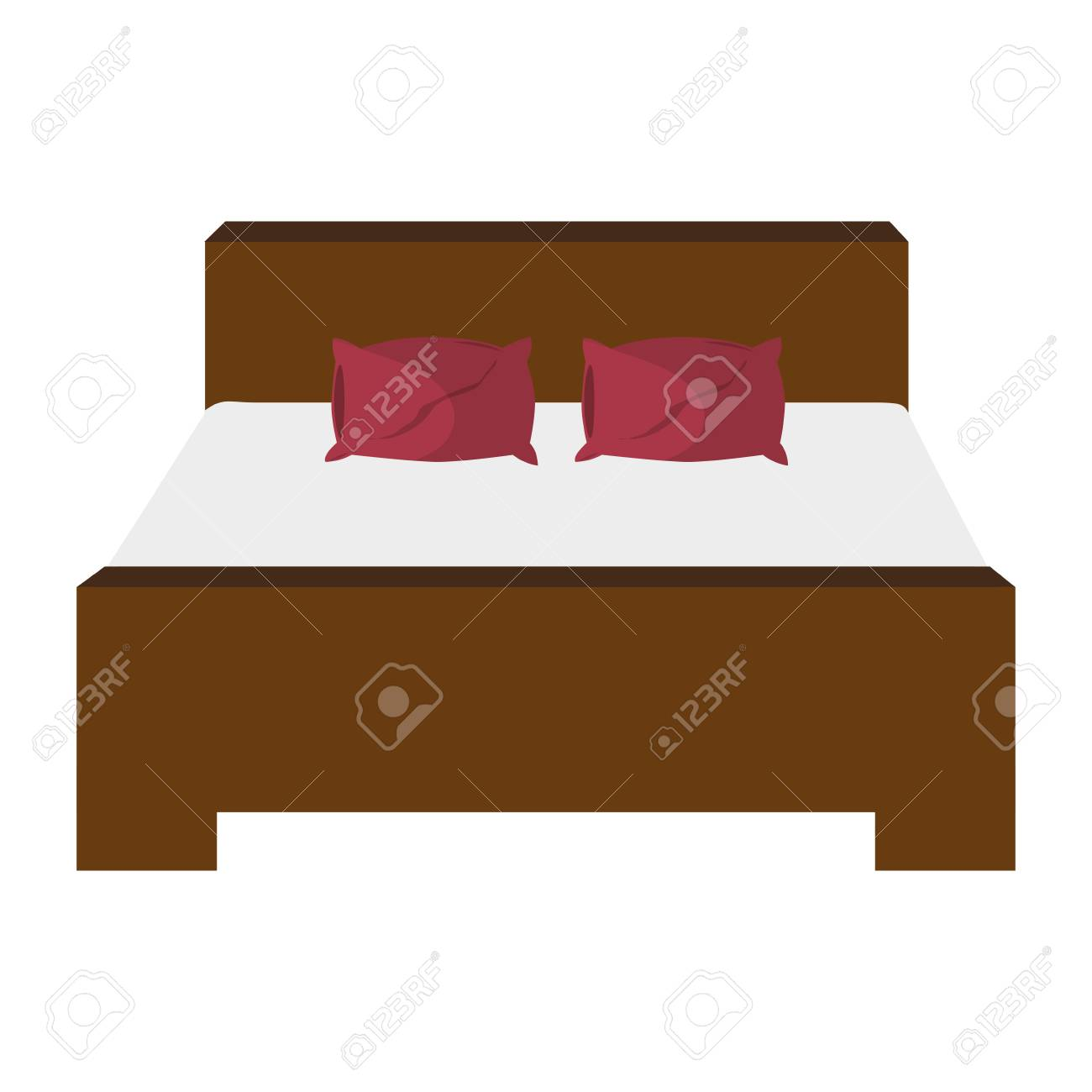 Flat Design Double Bed Icon Vector Illustration Royalty Free