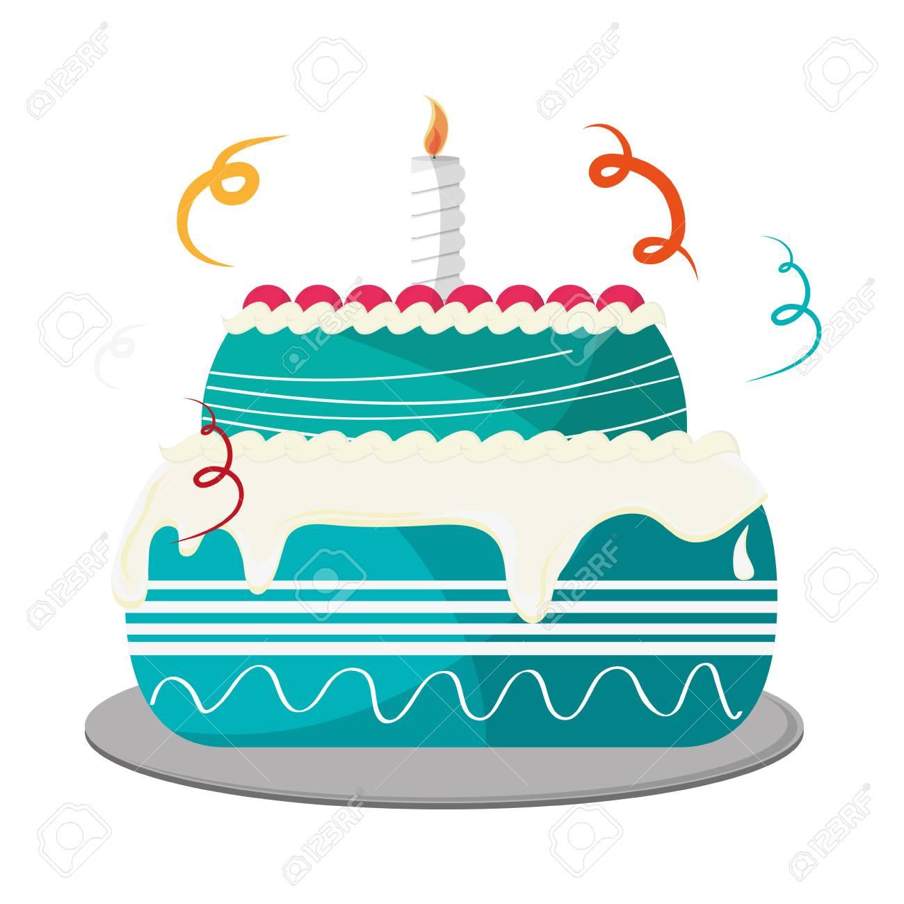 Flat Design Birthday Cake Icon Vector Illustration Royalty Free