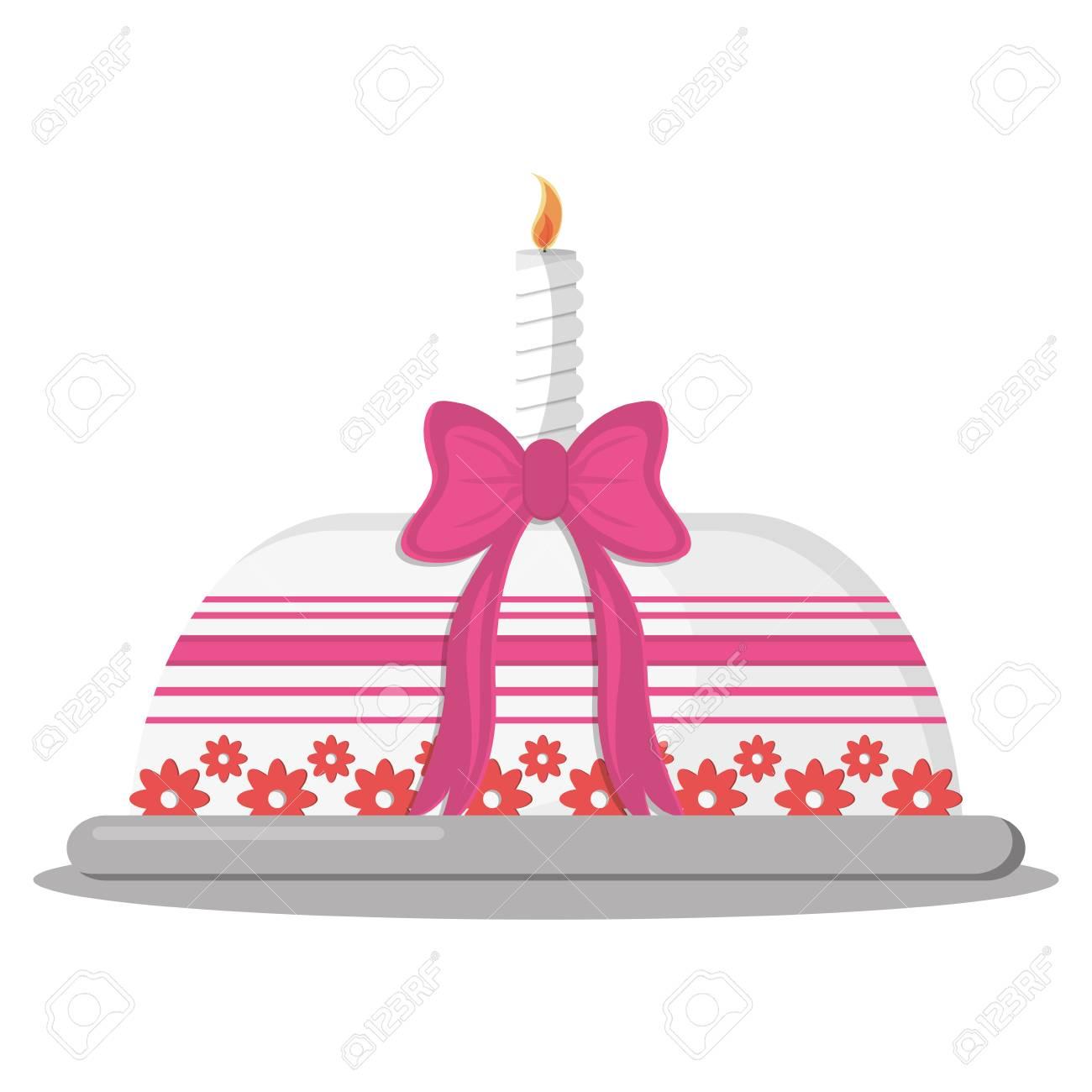 Flat Design Birthday Cake Icon Illustration Royalty Free Cliparts
