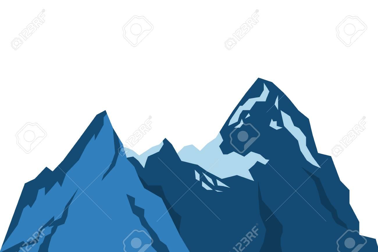 フラットなデザイン雪山アイコン イラストのイラスト素材ベクタ