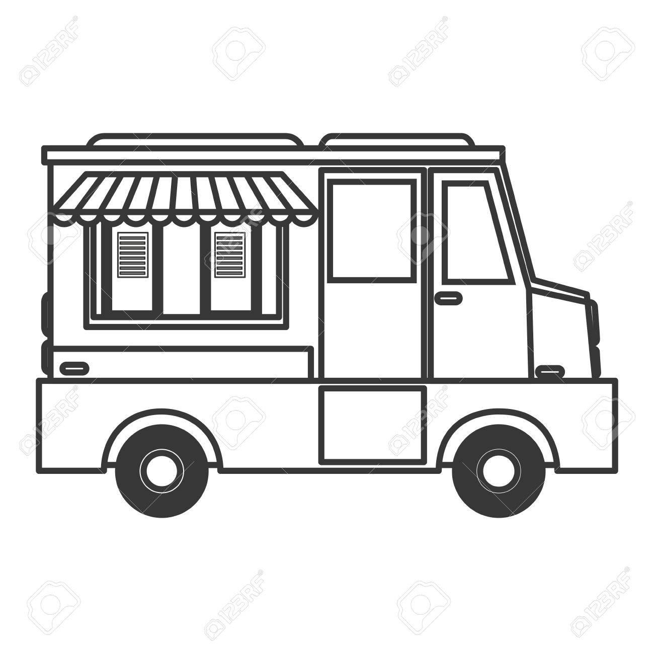 vector flat design ice cream truck icon vector illustration