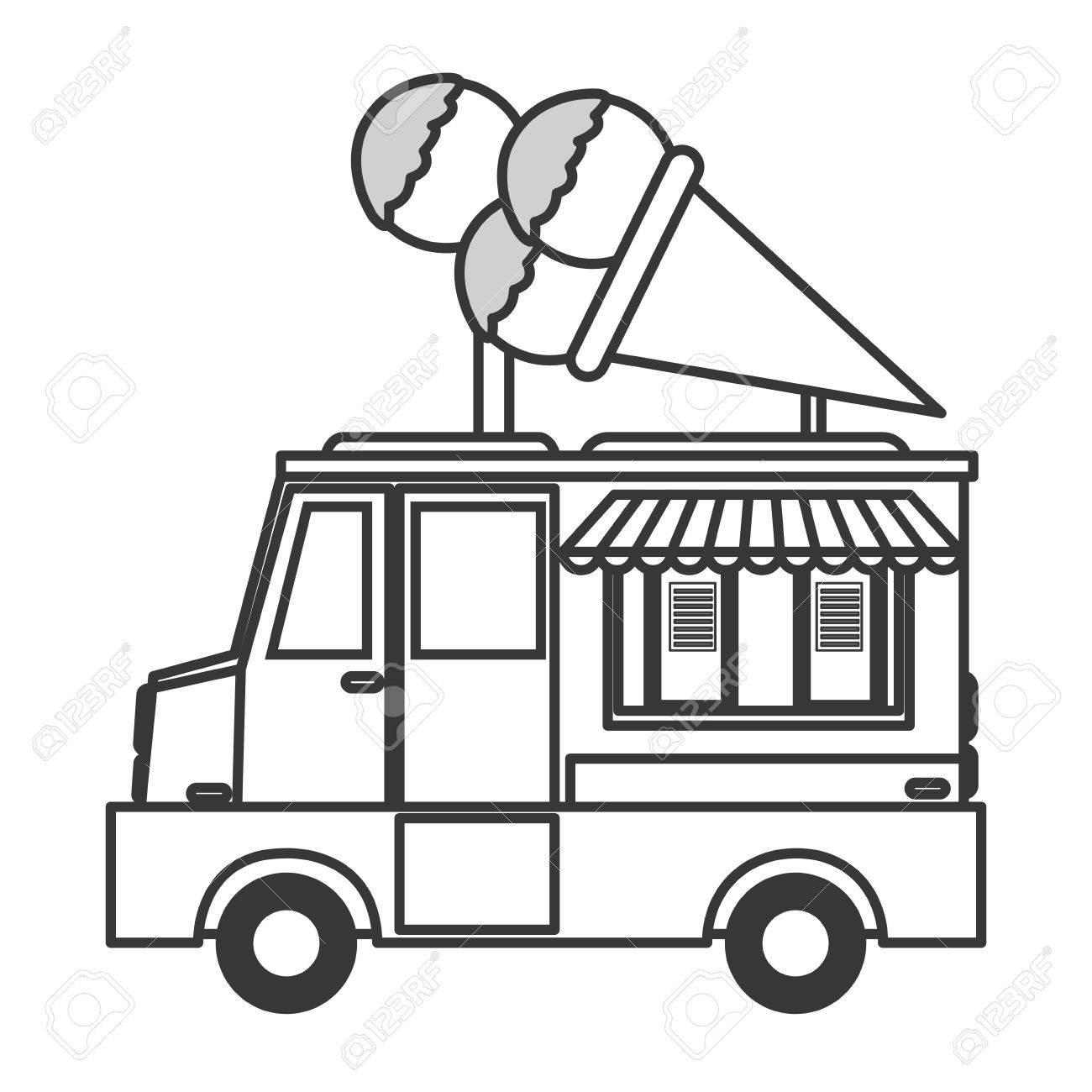 flat design ice cream truck icon vector illustration royalty free rh 123rf com