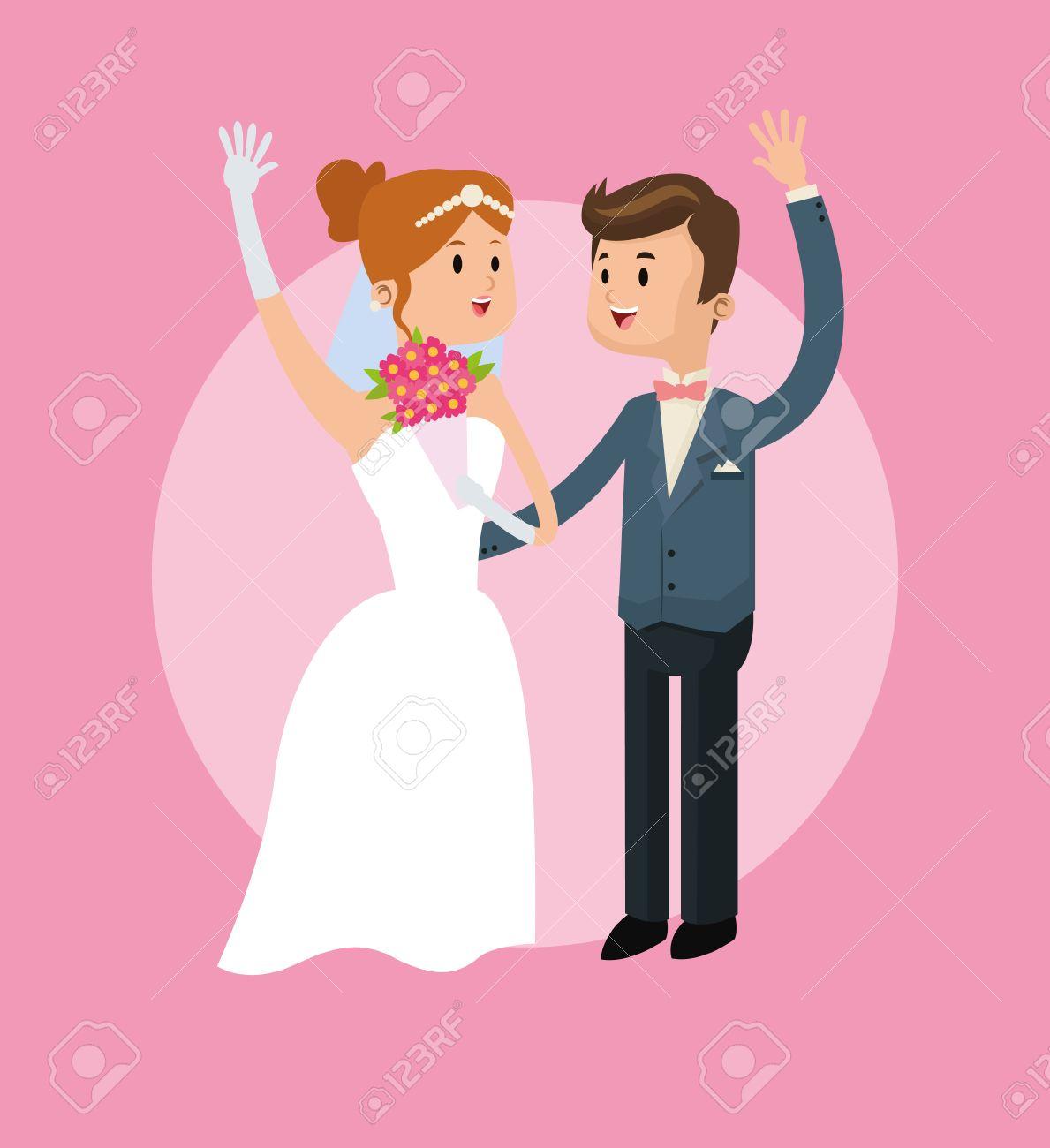 Couple Cartoon Girl Boy Man Woman Save The Date Wedding Icon
