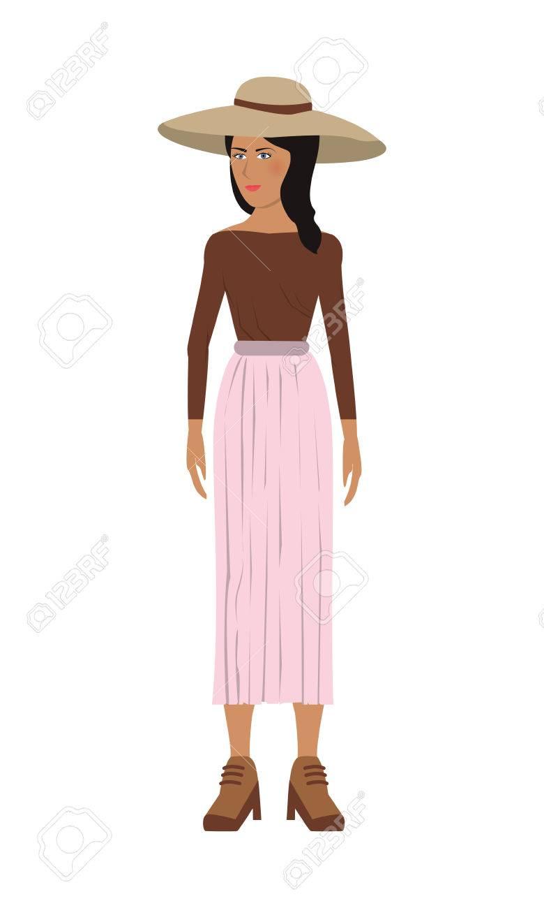 ロング スカートと帽子ベクトル イラストでフラットなデザインの独身女性アイコン