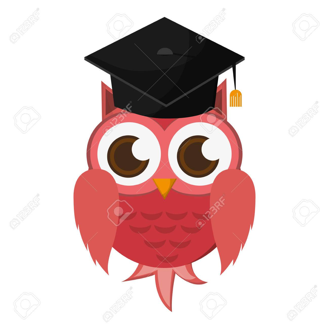 a87c0b1b8ce Plano del dibujo animado del búho con el casquillo de la graduación de la  ilustración del