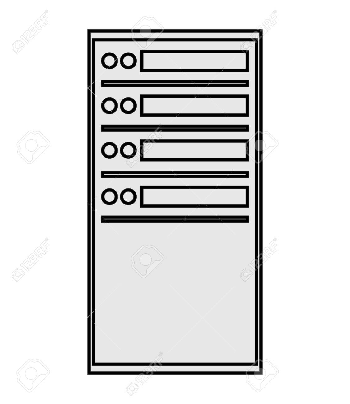 flat design computer server icon vector illustration