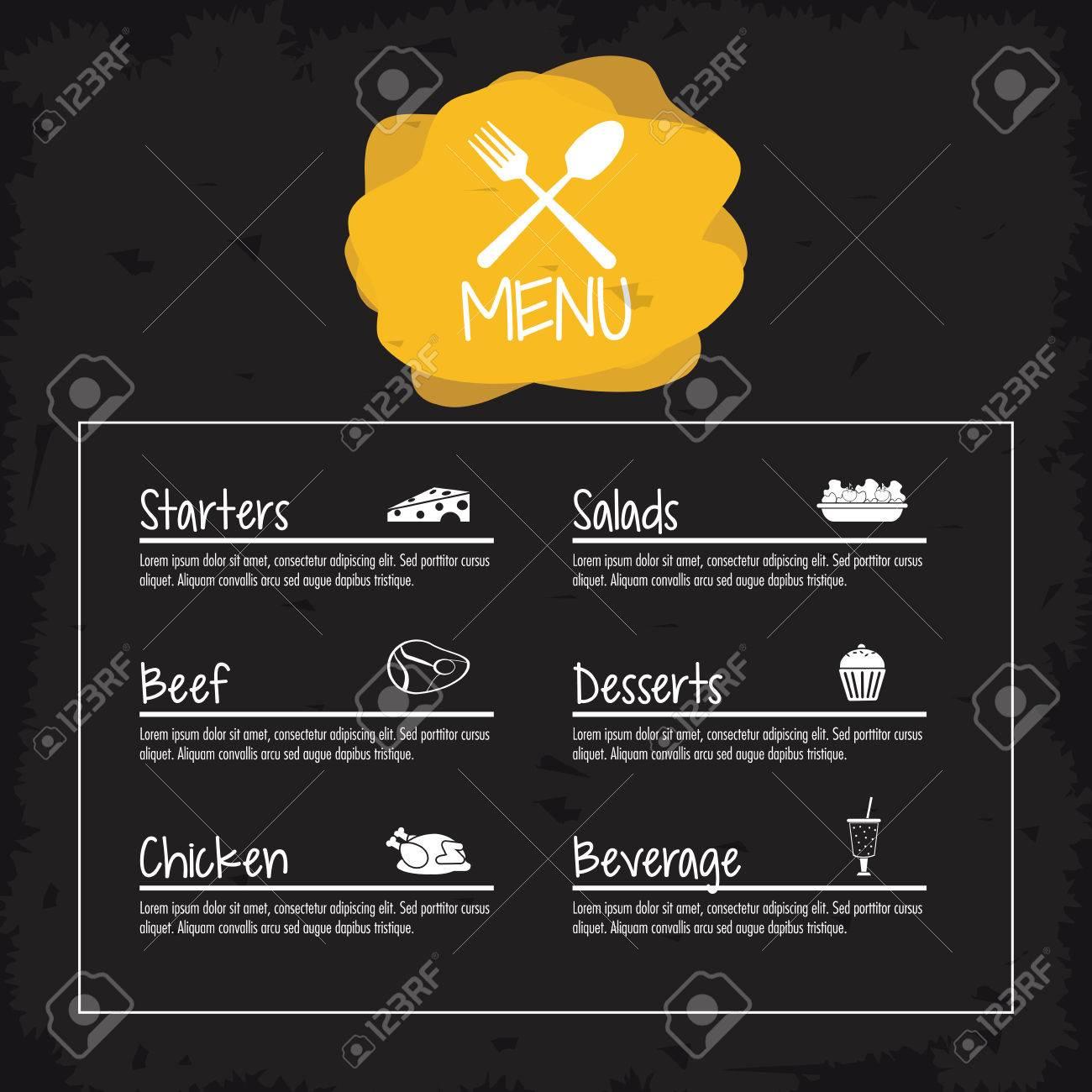 Vorspeisen Salate Rindfleisch Huhn Dessert Getränke Menü Restaurant ...