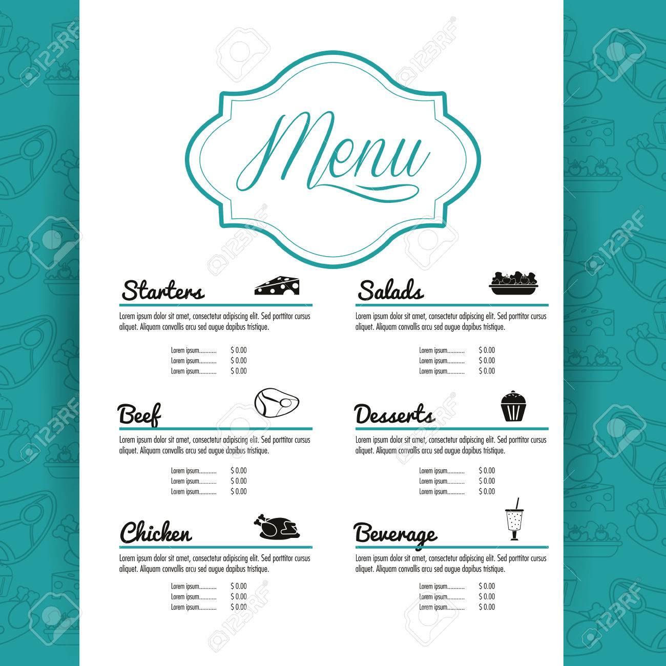 Vorspeisen Salate Rindfleisch Huhn Dessert Getränke Menü Etikett ...