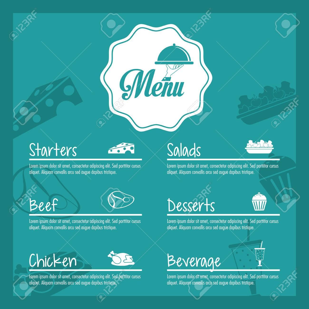 Platte Vorspeisen Salate Rindfleisch Huhn Dessert Getränke Menü ...