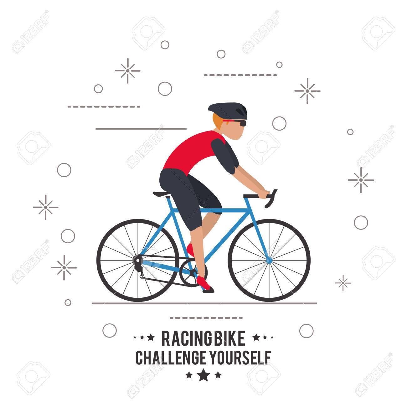 Vélo Bicyclette Cycle Casque Homme De Course Dessin Animé Garçon Mâle Défi Vous Icône Plat Et Colorfull Illustration Vecteur Graphique