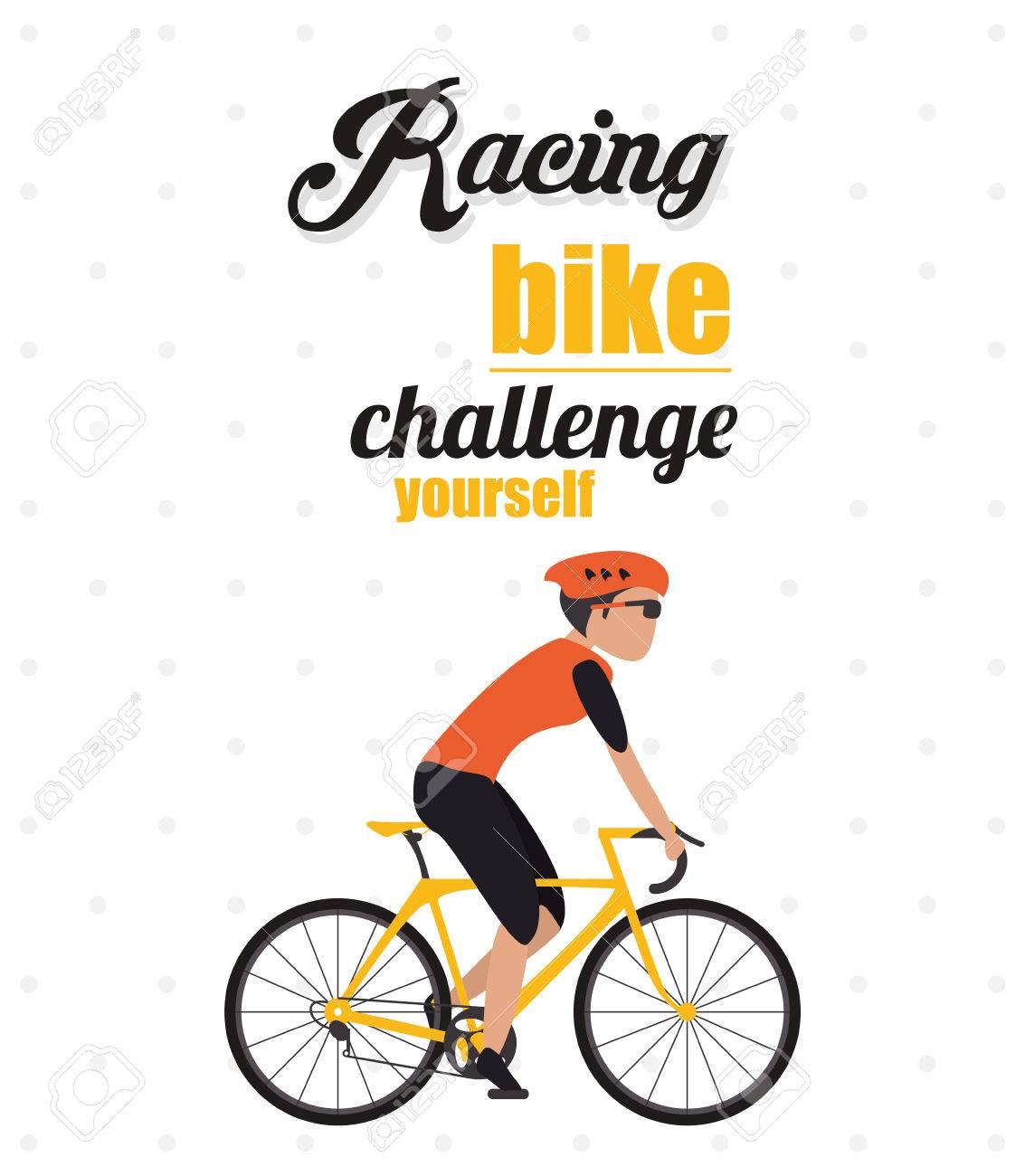 Vélo Bicyclette Cycle Casque Homme De Course Dessin Animé Garçon Mâle Défi Vous Icône Illustration Pointu Et Colorfull Vecteur Graphique