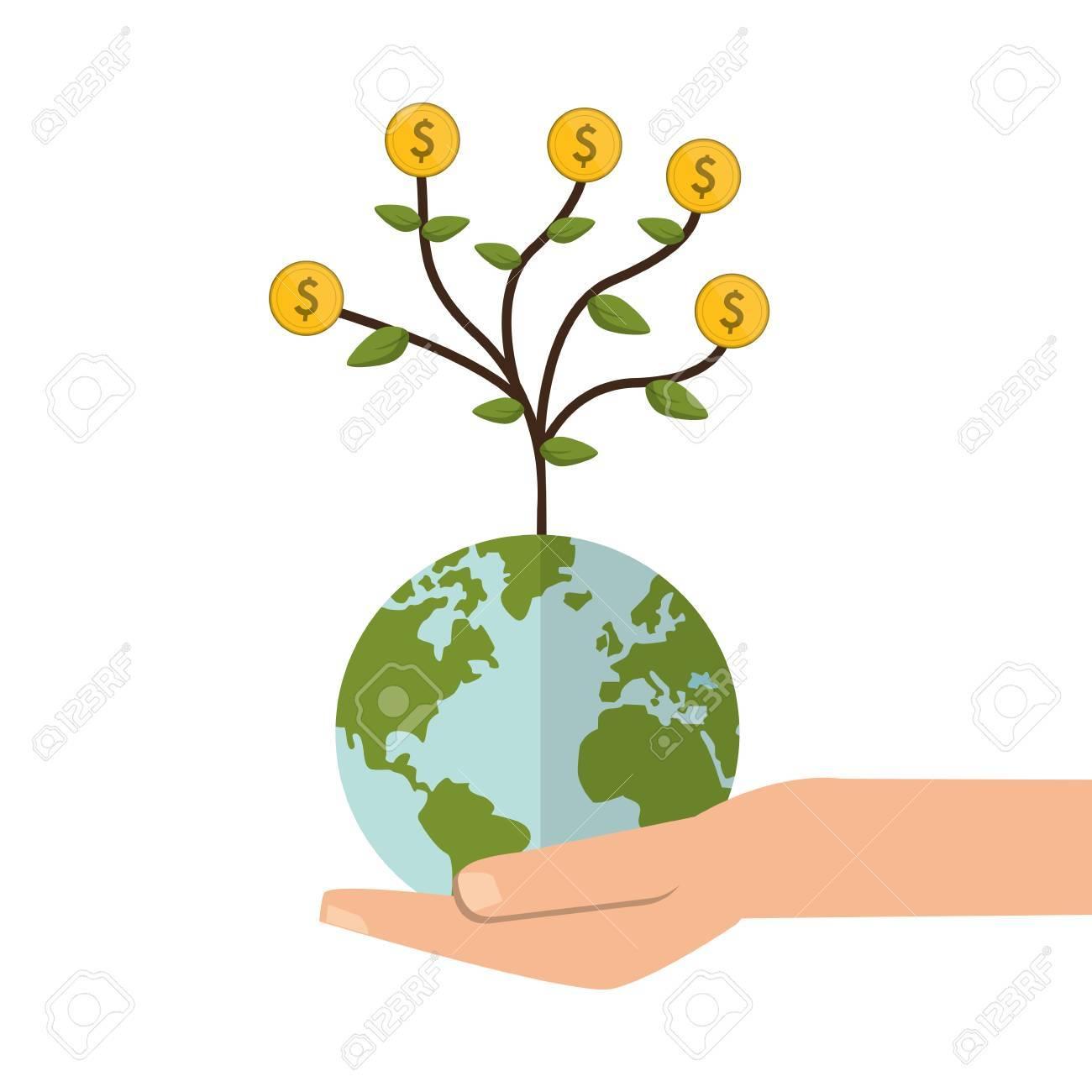 flat design shelter hand with earth globe money tree icon vector rh 123rf com Money Bag Clip Art Stacks of Money Clip Art