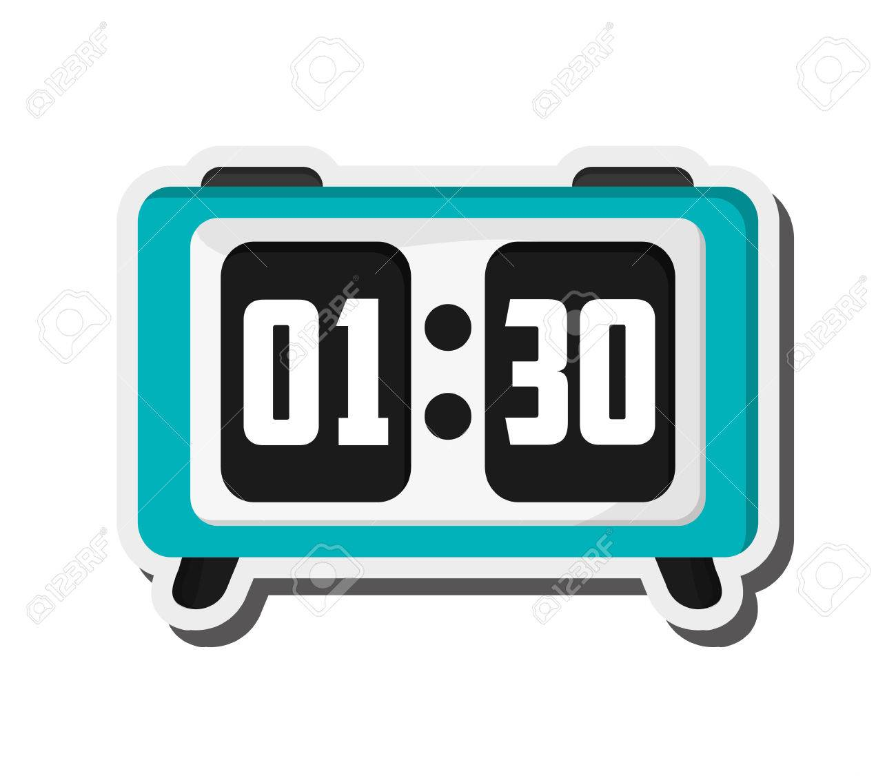 flat design digital alarm clock icon vector illustration royalty rh 123rf com