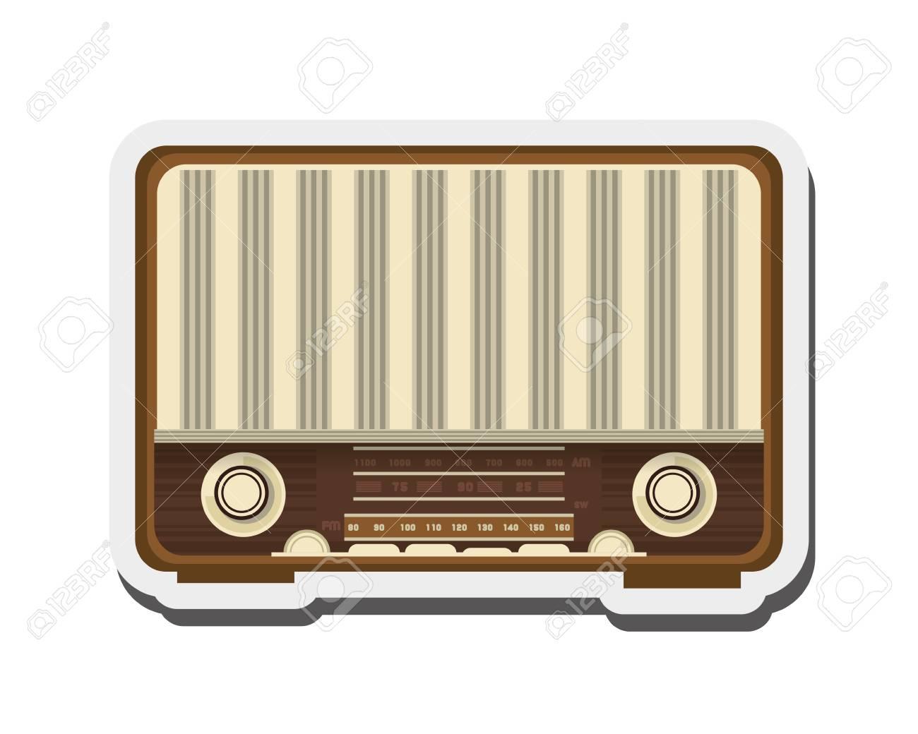 Flat Design Retro Radio Icon Vector Illustration Royalty Free ...