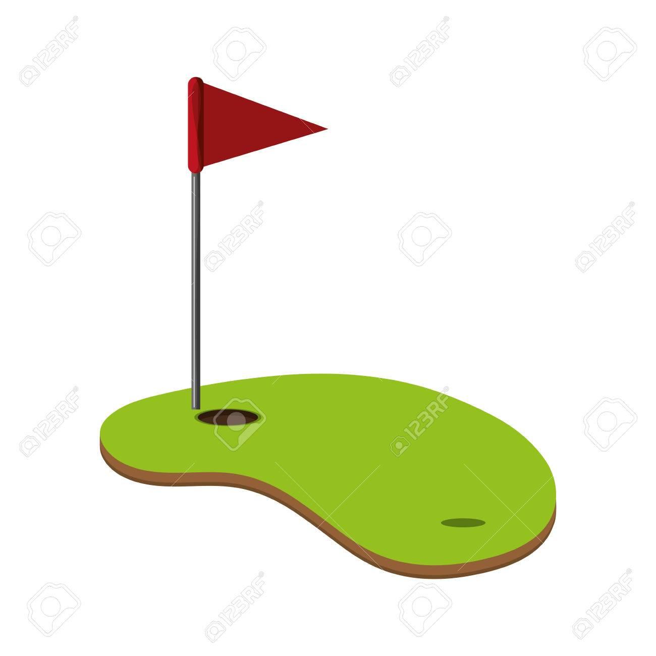 flat design golf hole icon vector illustration - 61271723