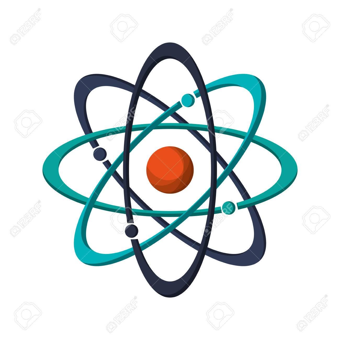 Flat Design Atom Structure Icon Vector Illustration Stock