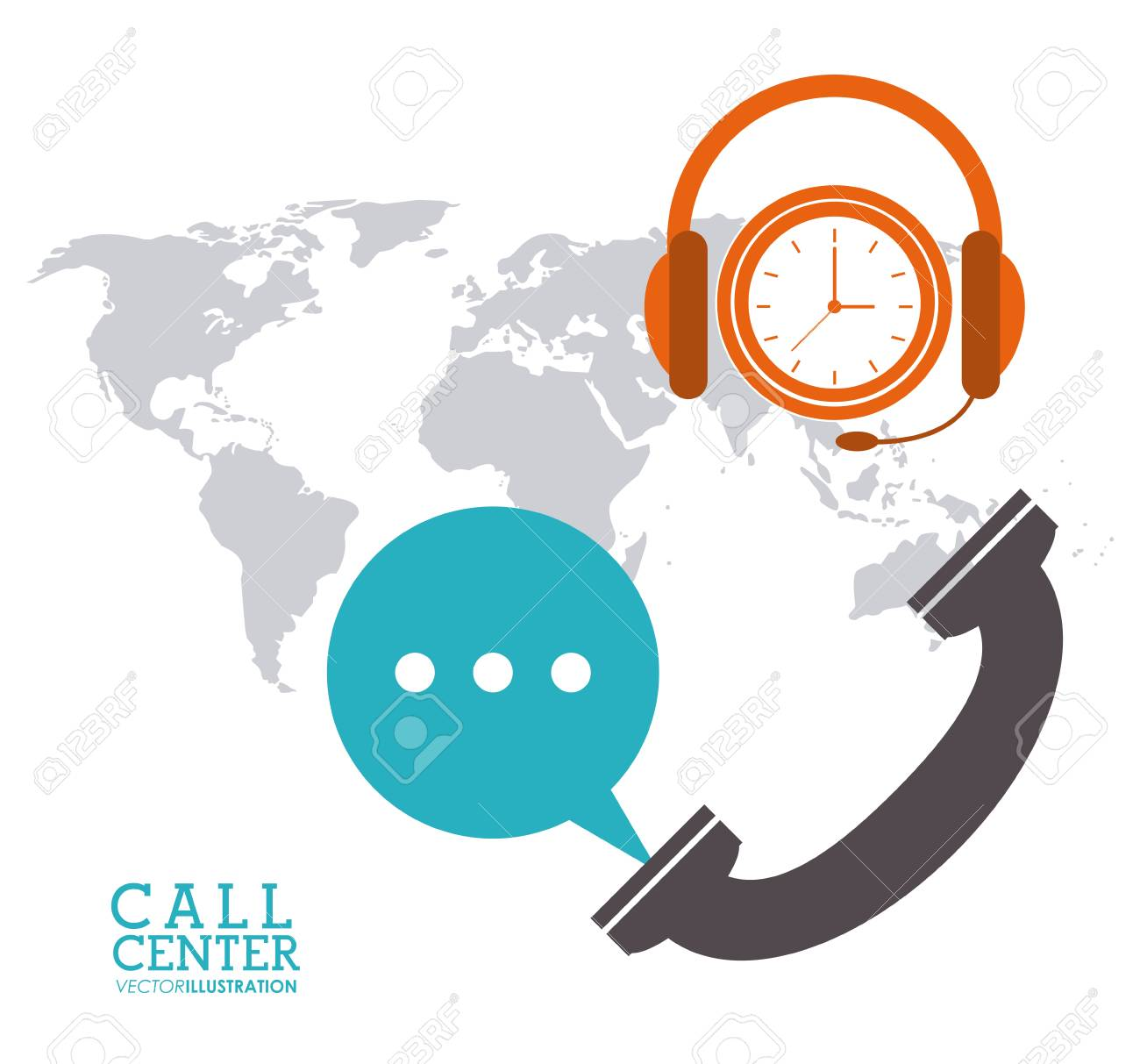 Phone bubble headphone clock map call center technical service phone bubble headphone clock map call center technical service icon vector illustration stock vector publicscrutiny Gallery