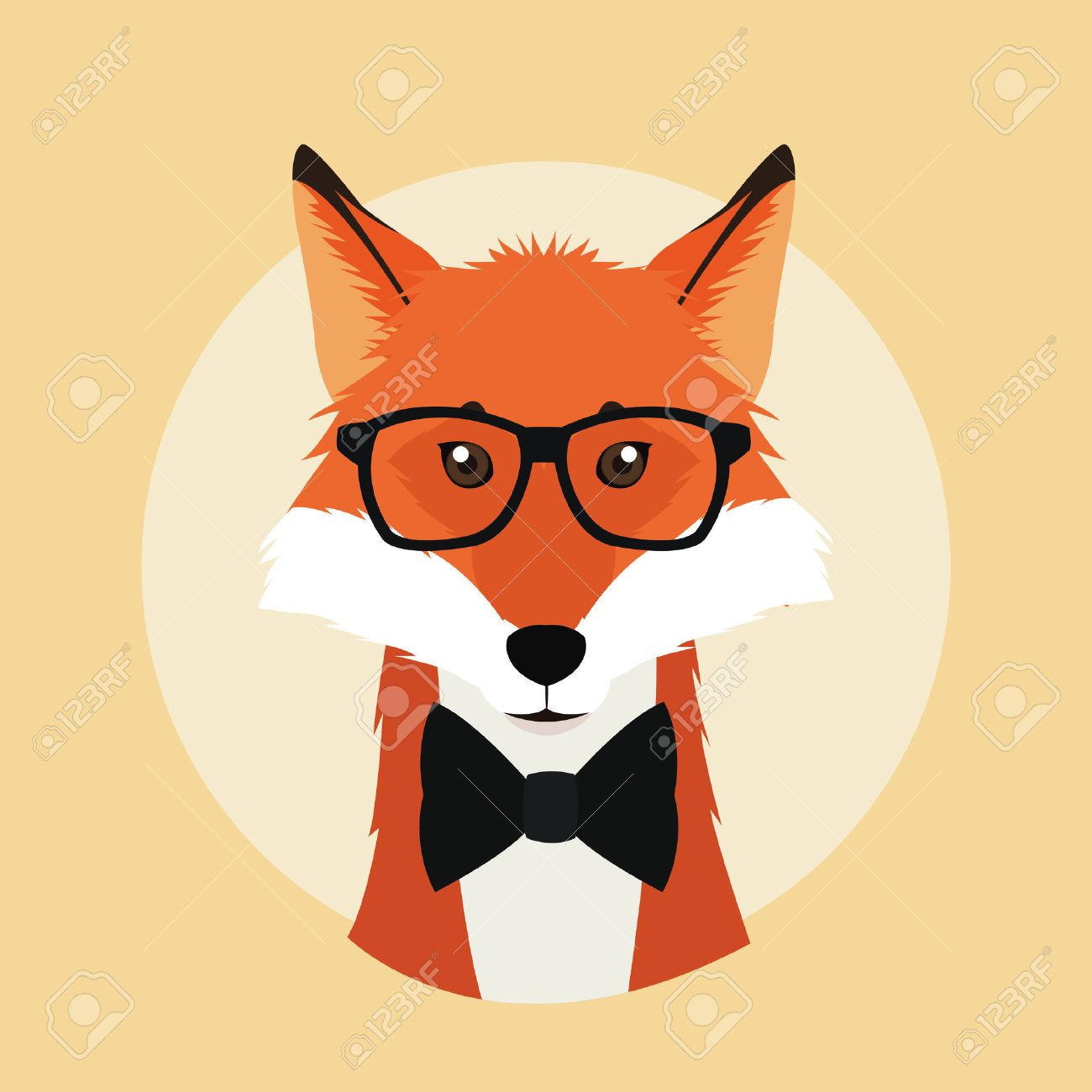 fox glasses animal hipster style retro fashion icon, Vector illustration Stock Vector - 61379551