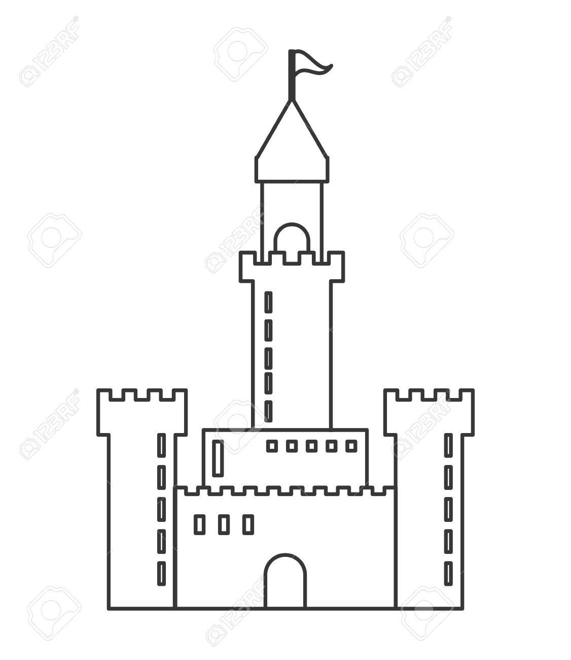 flat design large castle icon vector illustration royalty free