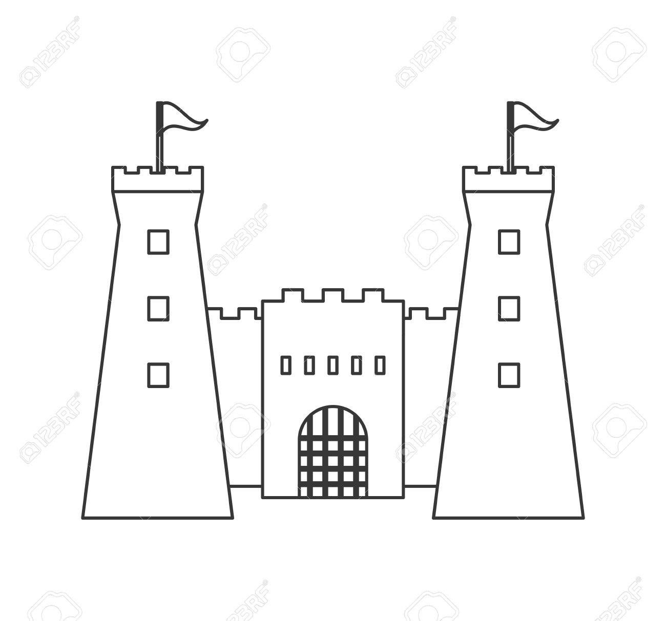 flat design simple large castle icon vector illustration royalty