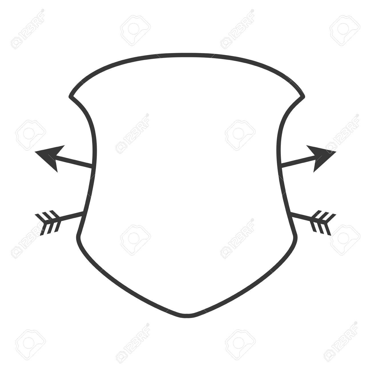 Marco Escudo Icono De Etiqueta De Seguridad Silueta. Ilustración ...