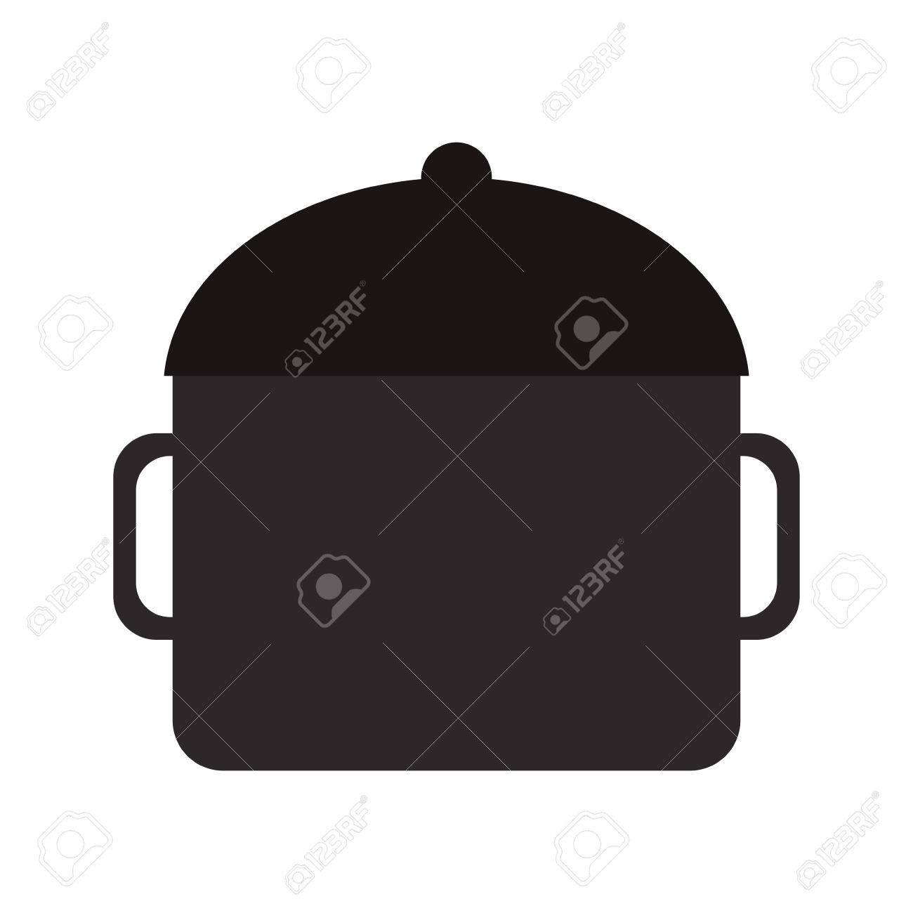Cacerola De La Cocina. Icono Plana. Imitación Dibujar Con