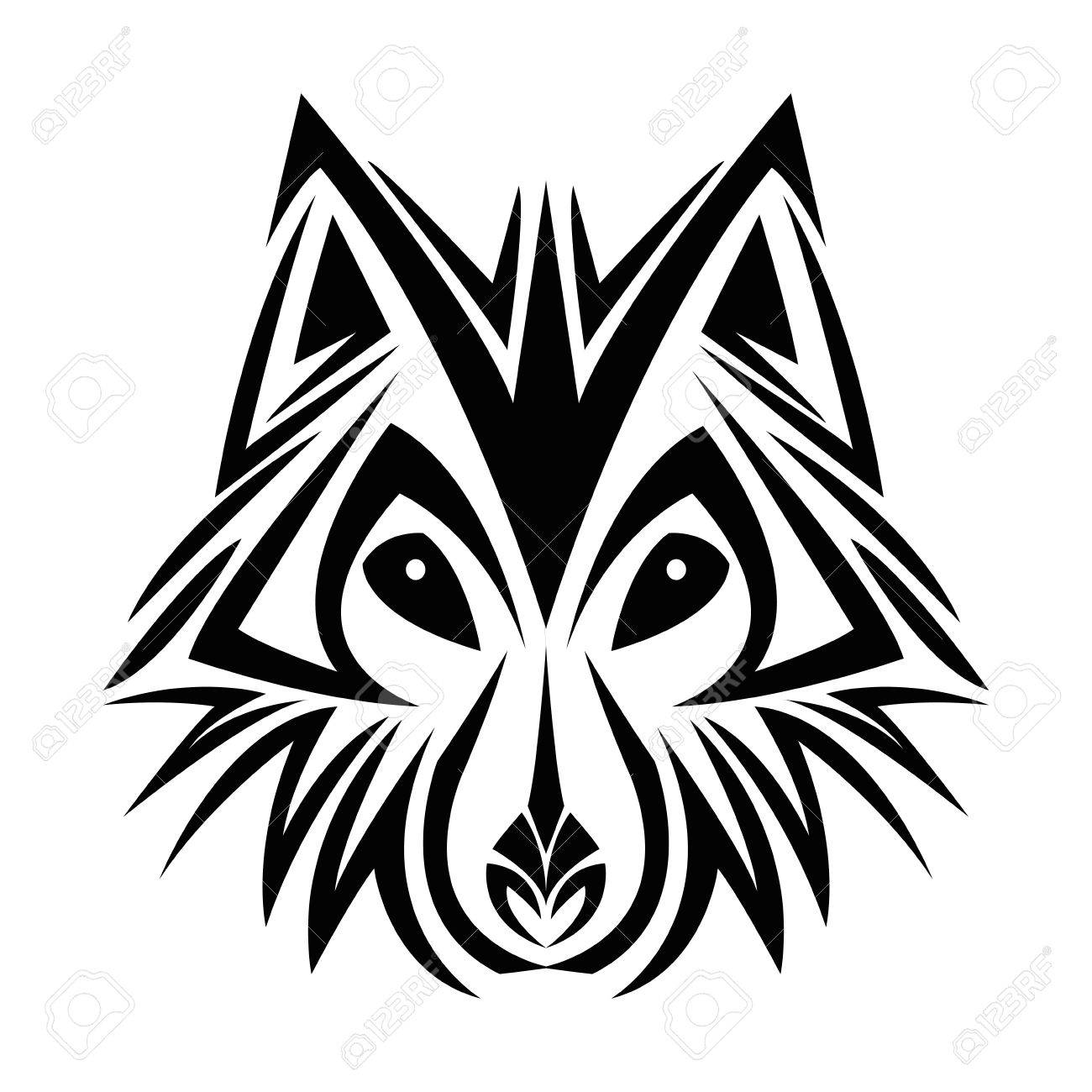 Wolf Tattoo Animal Draw Abstract Icon Flat And Isolated Design