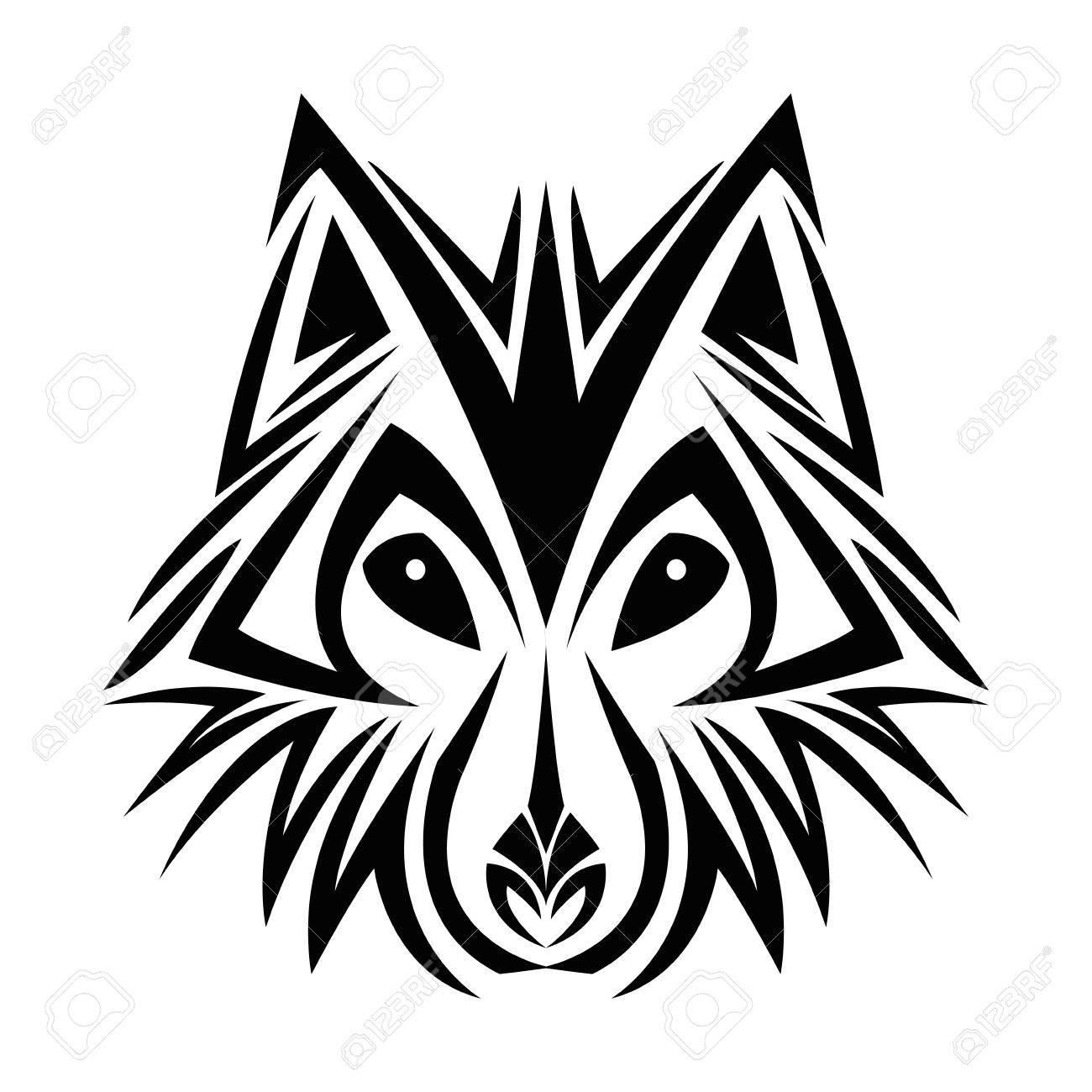 Wolf Tattoo Dier Tekenen Abstract Pictogram Plat En Geïsoleerd Ontwerp Vector Illustratie