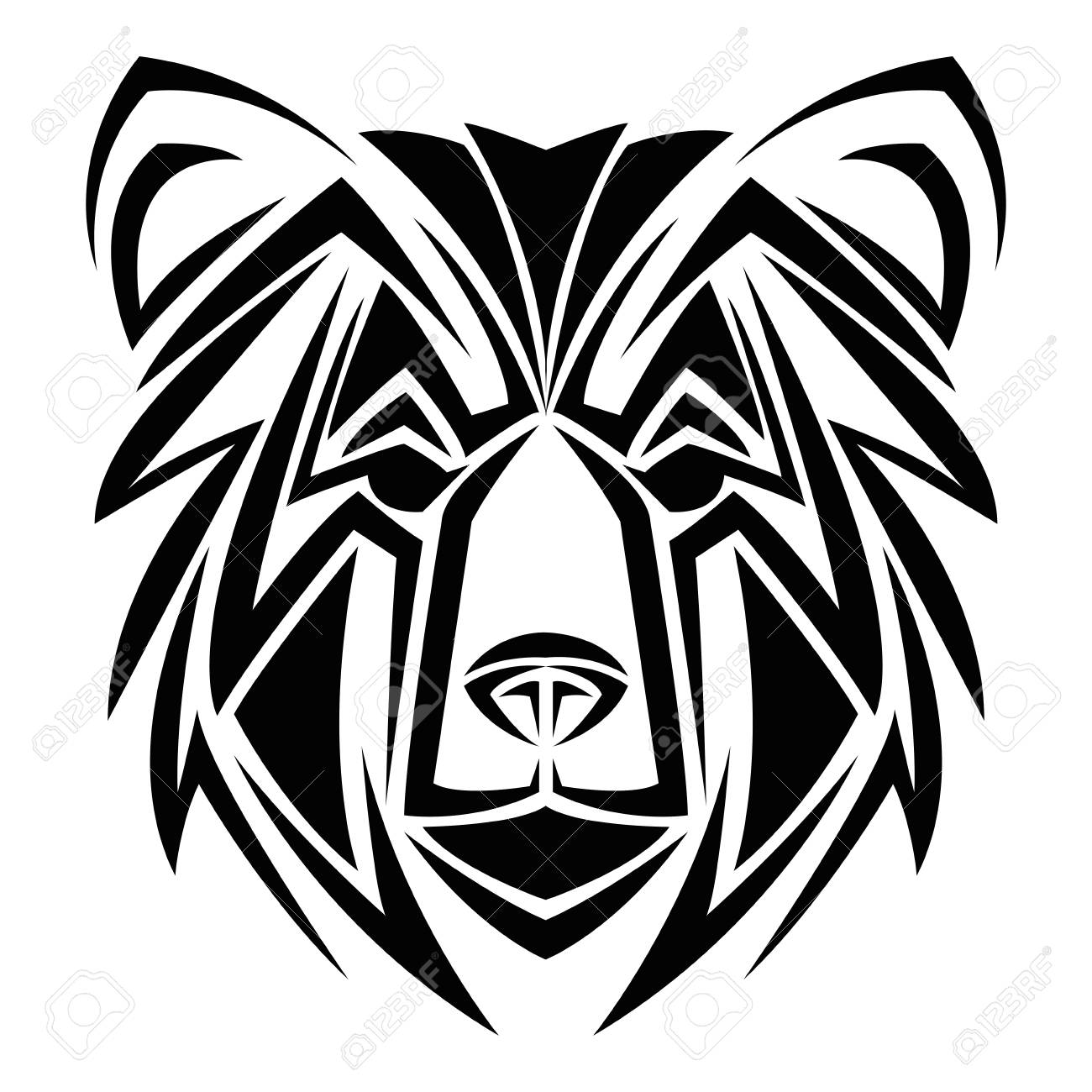 Bear Tattoo Animal Draw Abstract Icon Flat And Isolated Design