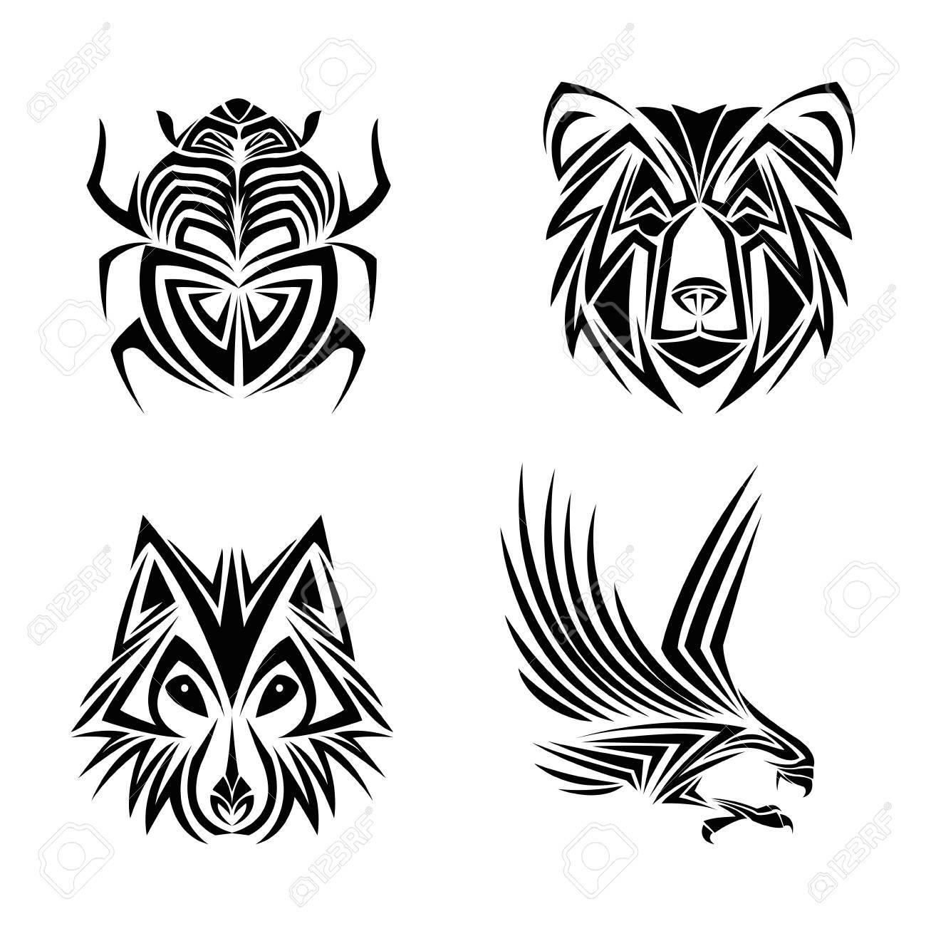 Eagle Wolf Beer Bug Tattoo Dier Te Tekenen Abstract Icoon Vlakke En Geïsoleerde Design Vector Illustratie