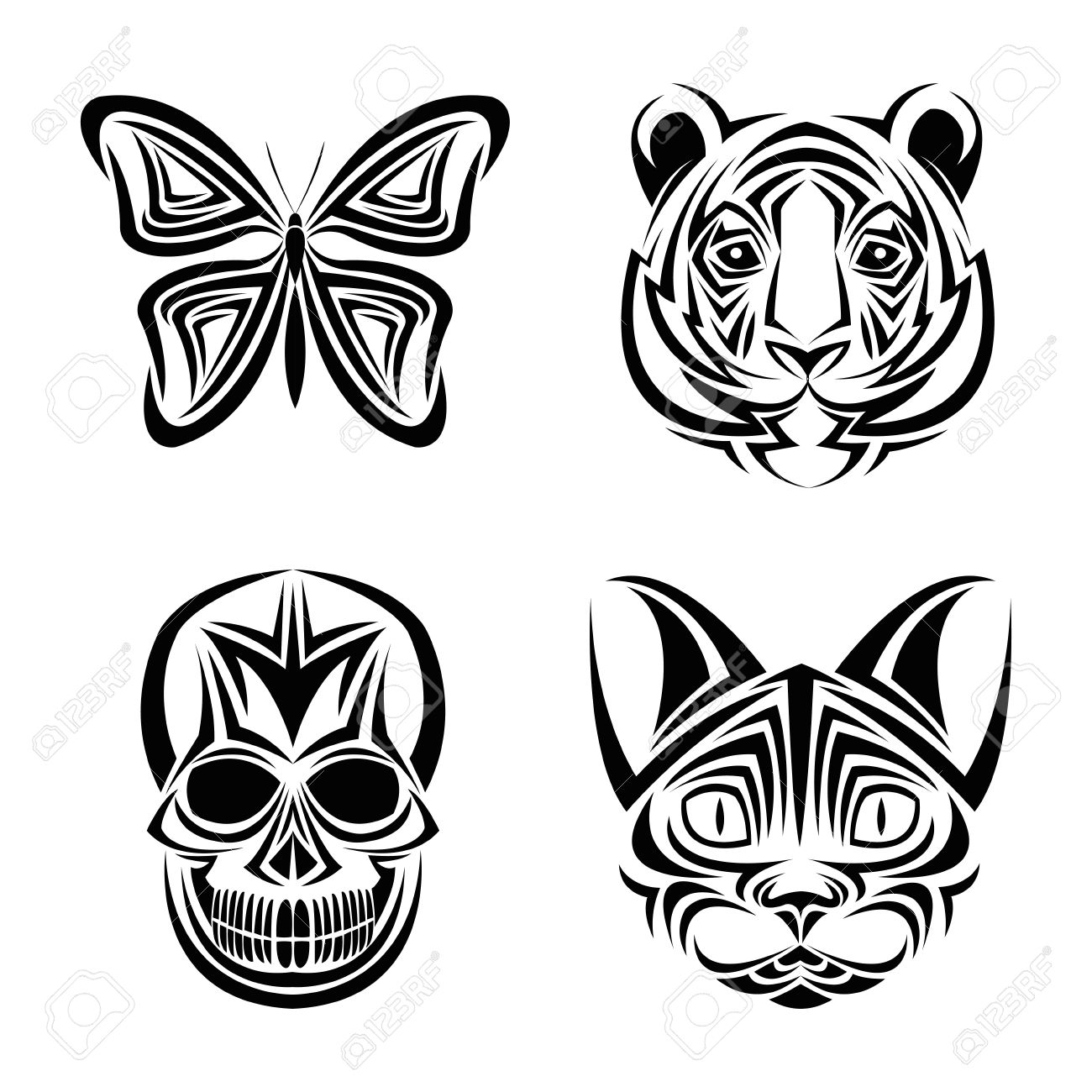 Skull Butterfly Tiger Cat Tattoo Draw Abstract Icon Flat And