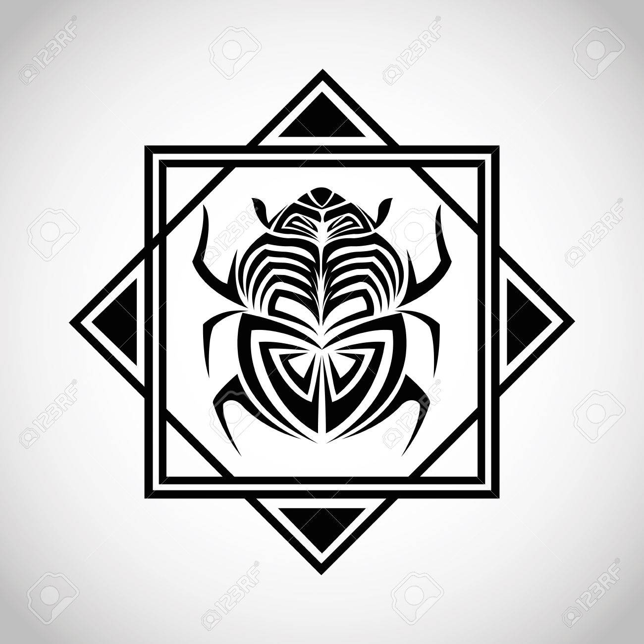 Bug Insect Tattoo Animal Draw Abstract Icon Frame And Isolated