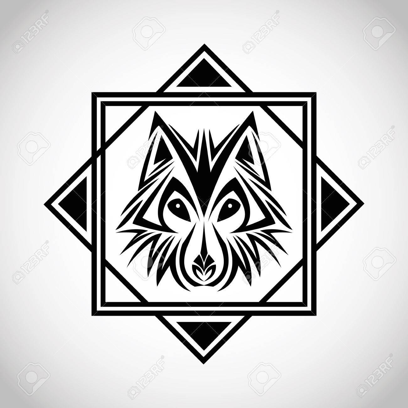 Animales Tatuaje Lobo Dibujar Abstracto Icono Marco Y El Diseño