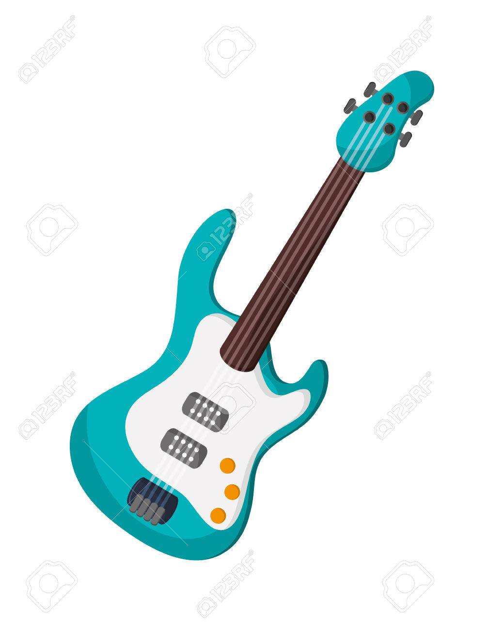 Flat Design Electric Guitar Icon Vector Illustration Royalty Free