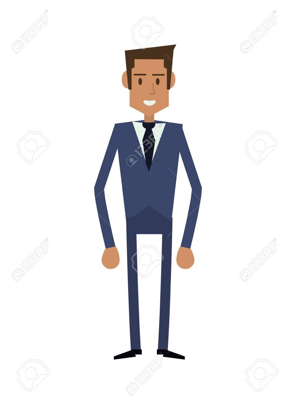 79012045c1f33 Foto de archivo - Hombre de negocios de dibujos animados hombre de negocios  macho avatar icono traje de paño. Diseño plano y aislado. ilustración  vectorial