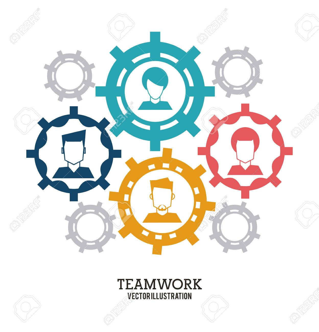 Teamwork Unterstützung Kollaborativen Einheit Symbol Avatar Gang ...