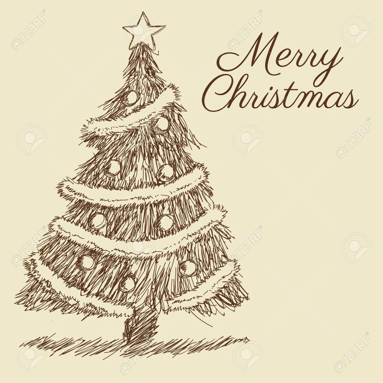 Pine Tree Merry Christmas Decoration Celebration Icon Isolated Draw And Sketch Design Vector Illustration