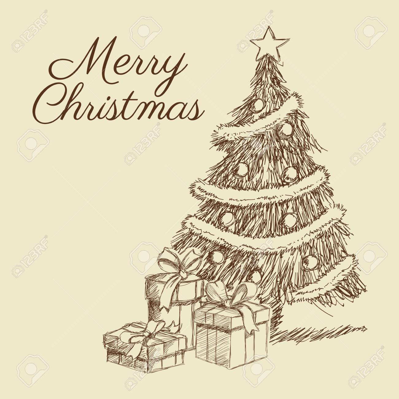 Christmas Celebration Images For Drawing.Pine Tree Gift Present Merry Christmas Decoration Celebration