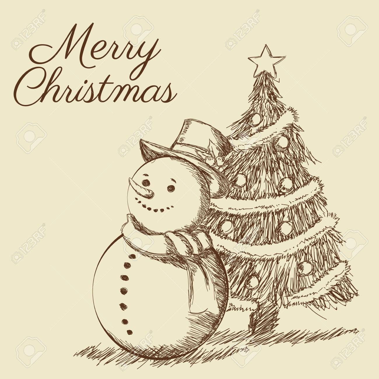 Pine Tree Snowman Merry Christmas Decoration Celebration Icon Isolated Draw And Sketch Design Vector