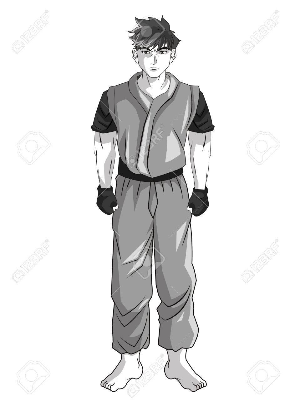 Man boy young anime manga comic cartoon fight icon black white