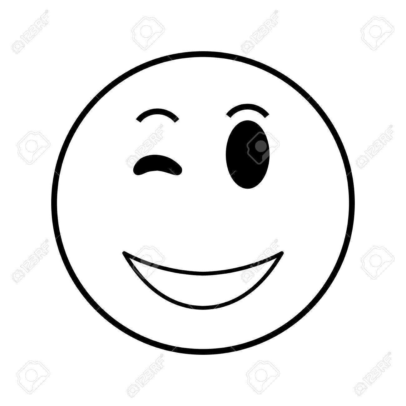 Zwinkern smileys schwarz weiß toihooktasupp: Smilie