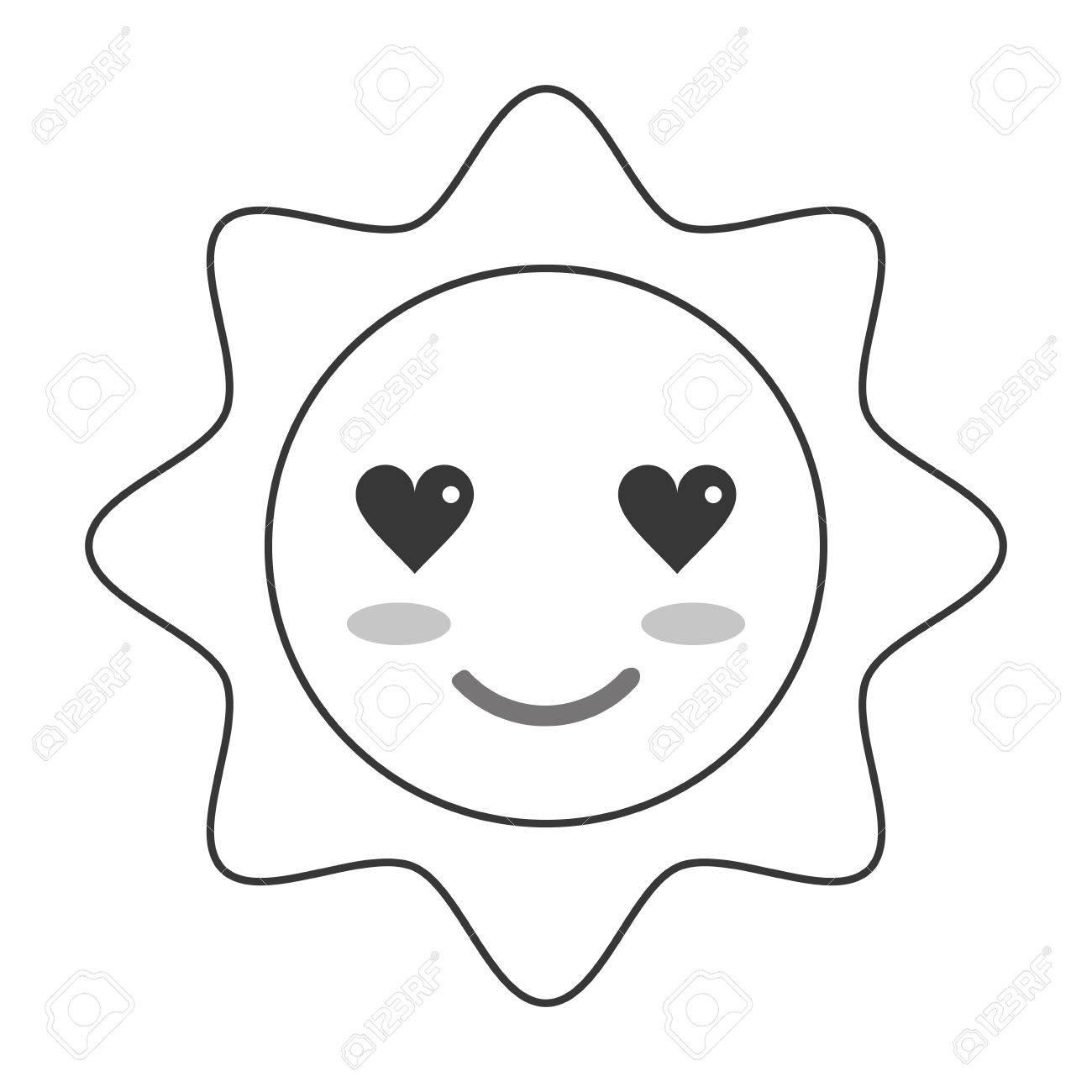 Flat Design Kawaii Sun Icon Vector Ilustration