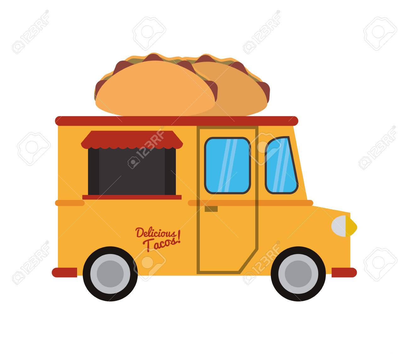 Taco Truck Delivery Fast Food Urban Business Icon Flat And Isolated