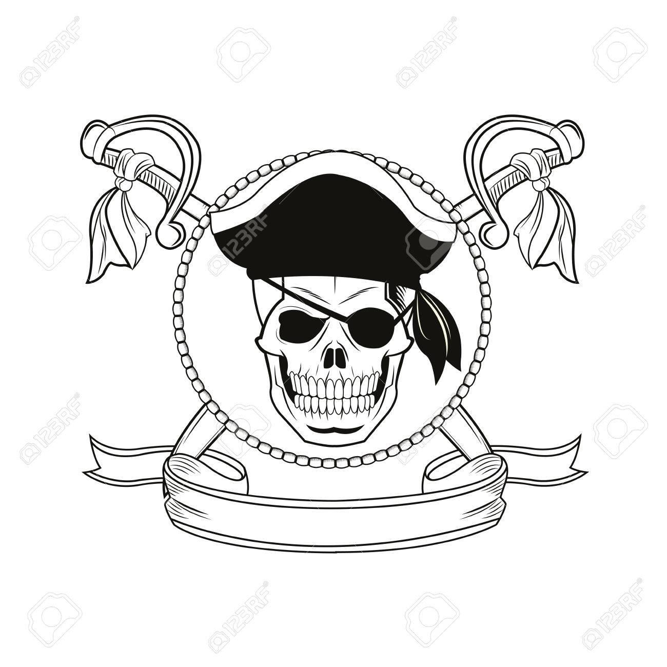 Cráneo Cinta Espada Pirata De Dibujos Animados Tatuaje Marina Icono ...