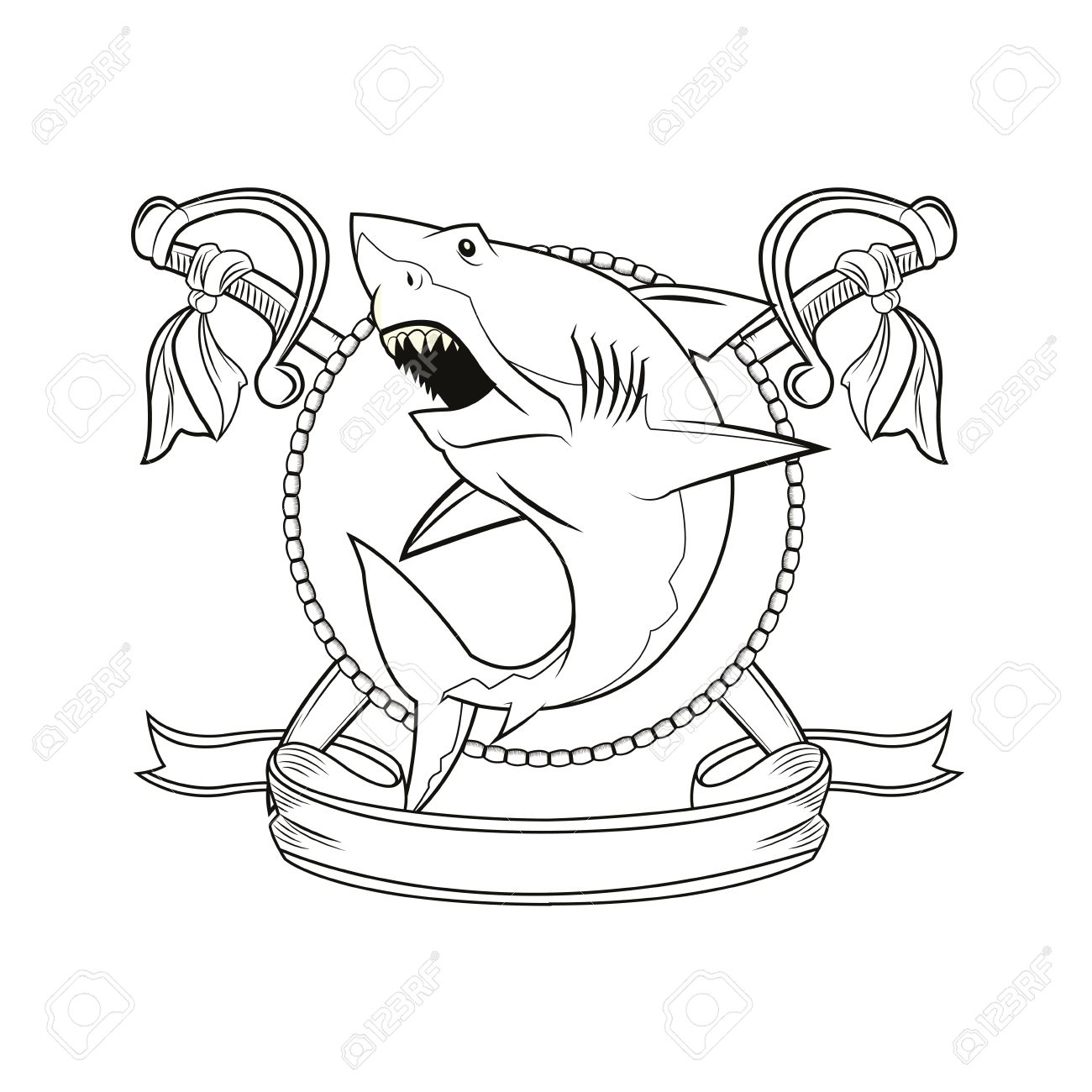 Espada Tiburón De La Historieta De La Cinta Pirata Tatuaje Marina ...