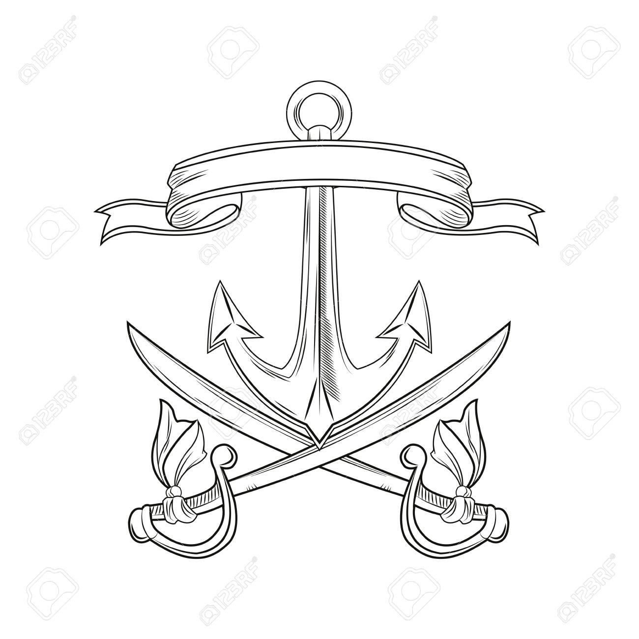 Ancla Espada Cinta Dibujos Animados Pirata Tatuaje Marino Icono ...