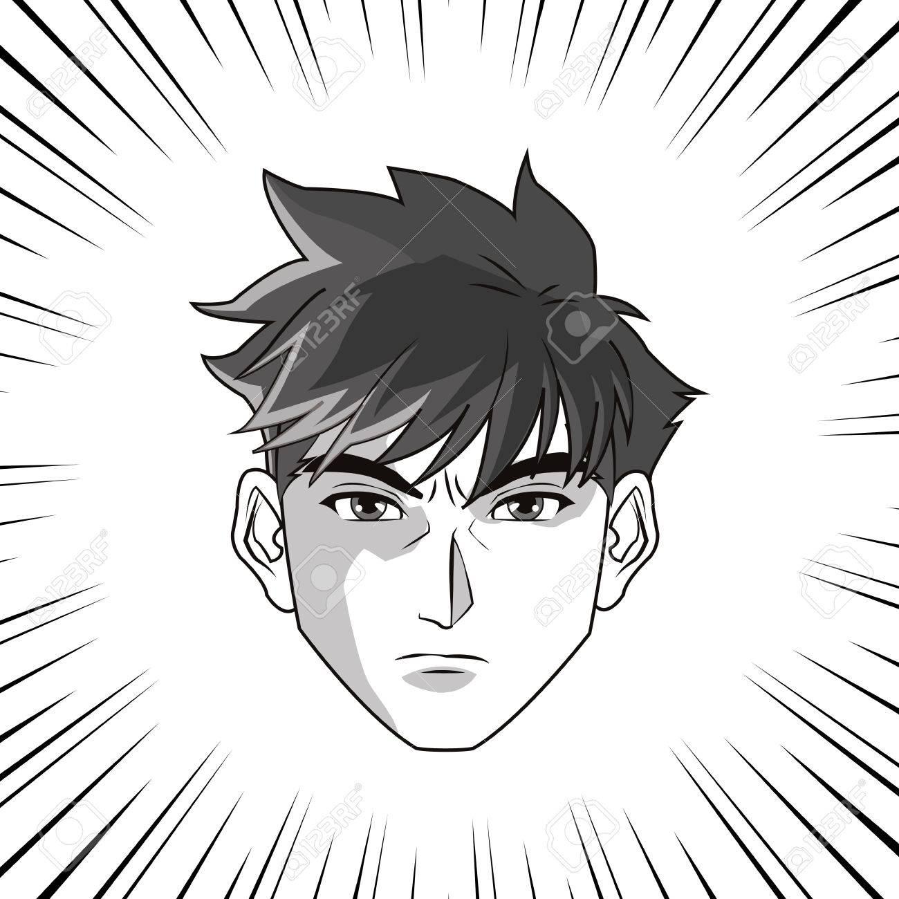 Anime boy or man cartoon icon manga and comic design black