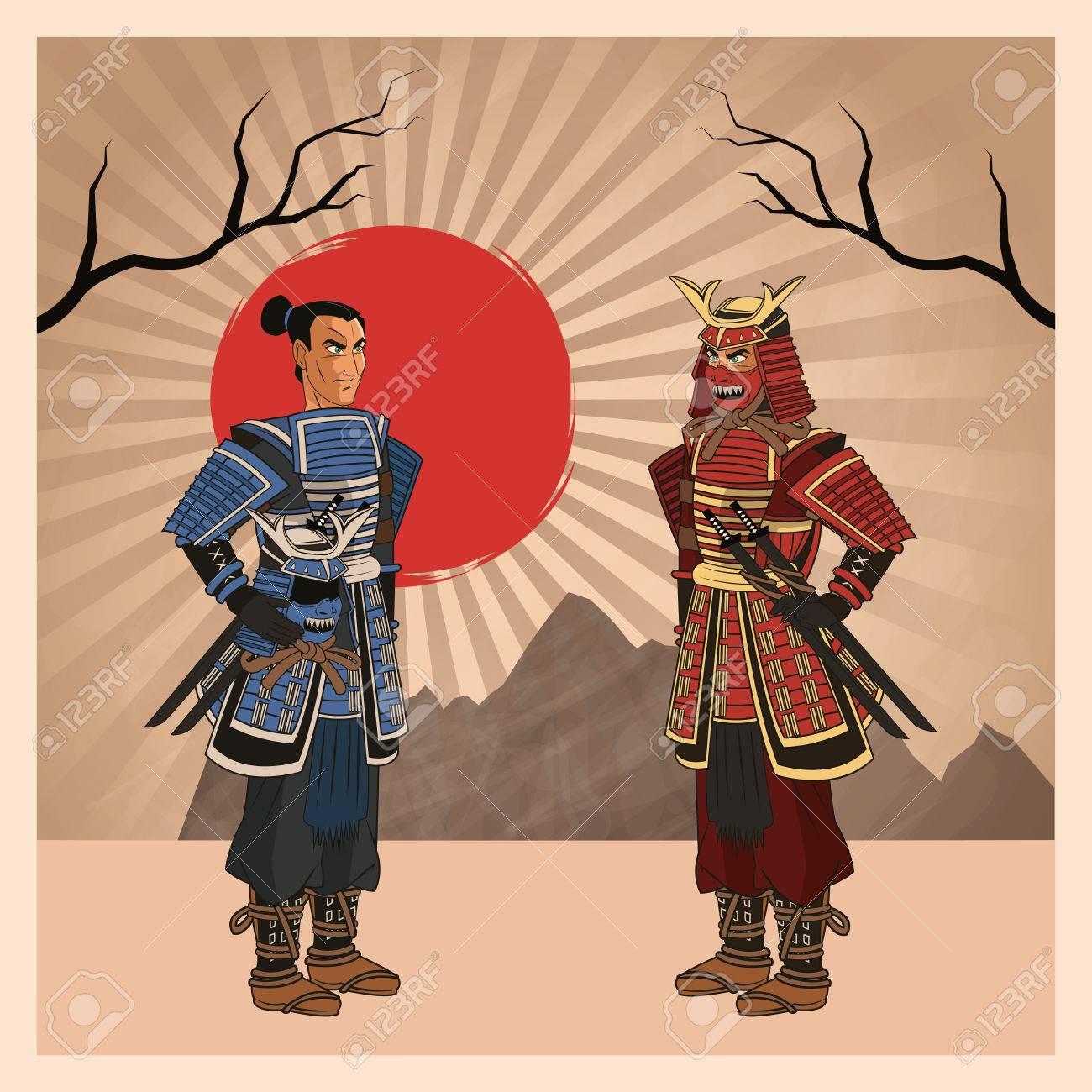De Dibujos Animados Hombre Samurai Con El Icono Uniforme Comico